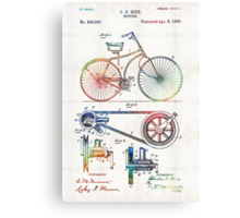 Colorful Bike Art - Vintage Patent - By Sharon Cummings Canvas Print