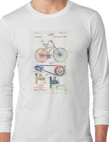 Colorful Bike Art - Vintage Patent - By Sharon Cummings Long Sleeve T-Shirt