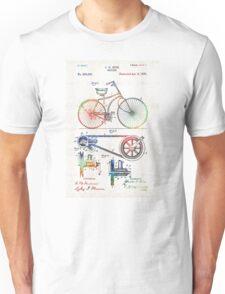 Colorful Bike Art - Vintage Patent - By Sharon Cummings Unisex T-Shirt