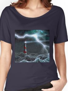 Lighthouse in the storm Women's Relaxed Fit T-Shirt