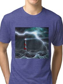 Lighthouse in the storm Tri-blend T-Shirt