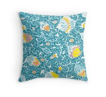 Floral Pattern - hand drawn and then digitally coloured Throw Pillow