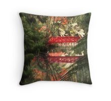 Autumn and the Red Bridge Throw Pillow
