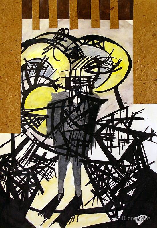 Shadow Sideshow : Ink, watercolour, and collage mixed media on paper. by CDCcreative