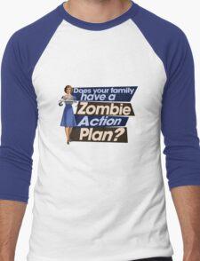Zombie Action Plan Men's Baseball ¾ T-Shirt