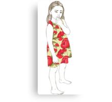 Little girl in a dress Canvas Print