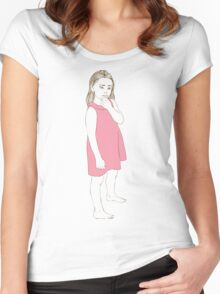 Little girl in a pink dress Women's Fitted Scoop T-Shirt