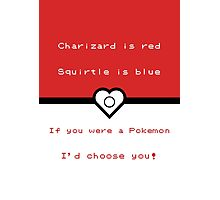 Pokemon inspired valentine. Photographic Print