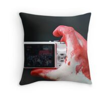 Blood and Cameras Throw Pillow