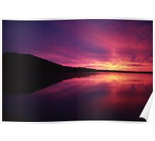 Fiery Sunrise over Thumb Lake, Michigan Poster