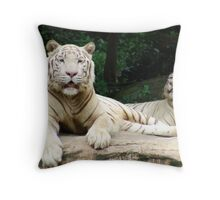 white tigers resting Throw Pillow