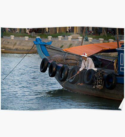 Fisherman in Hoi An, Viet Nam Poster