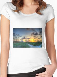 Sunrise at the Boardwalk Women's Fitted Scoop T-Shirt