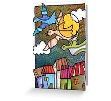 Casas y pajaros Greeting Card