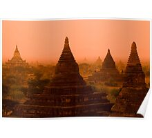 Stupas In The Mist Poster