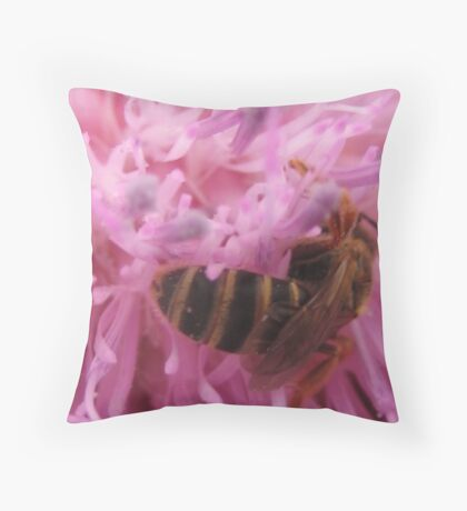 farmers market blossom and bee Throw Pillow
