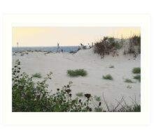 Sand dune overlooking the sea Art Print