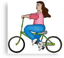 Niña en bicicleta Canvas Print