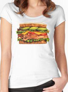 Turkey Bacon Avocado Sandwich Women's Fitted Scoop T-Shirt