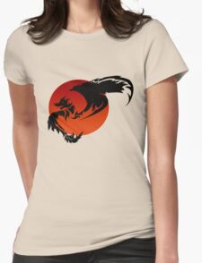 Black Sun Dragon. Womens Fitted T-Shirt