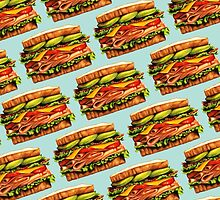 Turkey Bacon Avocado Sandwich Pattern by Kelly  Gilleran
