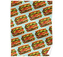 Turkey Bacon Avocado Sandwich Pattern Poster