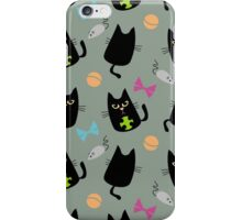 Black cat playing iPhone Case/Skin