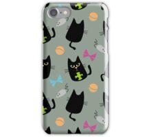 Black cat playing iPhone Case/Skin