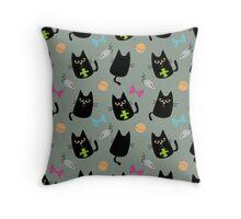 Black cat playing Throw Pillow