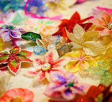Hand made fabric flowers by yeamanphoto