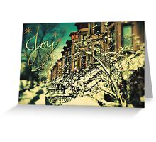 """Joy"" Brownstones Under Snow Greeting Card"