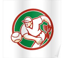 American Baseball Pitcher Throwing Ball Circle Retro Poster