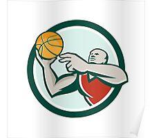 Basketball Player Lay Up Ball Circle Retro Poster