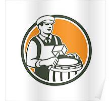 Cooper Barrel Maker Drum Retro Circle Poster