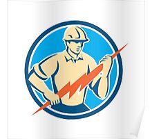 Electrician Holding Lightning Bolt Circle Retro Poster