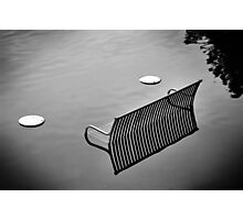 bench in the water bw Photographic Print