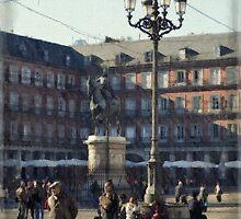 A relaxing cup of café con leche en la Plaza Mayor by rentedochan
