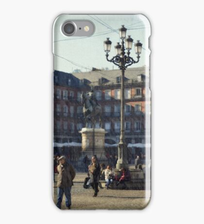 A relaxing cup of café con leche en la Plaza Mayor iPhone Case/Skin