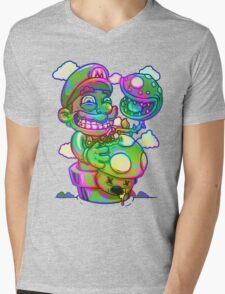 Trippy Mario Mens V-Neck T-Shirt