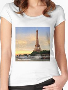 France - Eiffel Tower Sunset Women's Fitted Scoop T-Shirt