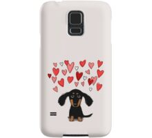 Cute Dachshund Puppy with Valentine Hearts Samsung Galaxy Case/Skin