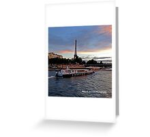 France - Eiffel Tower and Boat Dusk Greeting Card