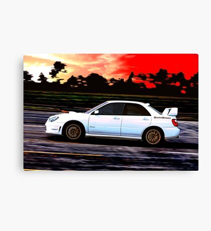 Subaru STi Racing at Sunset Canvas Print