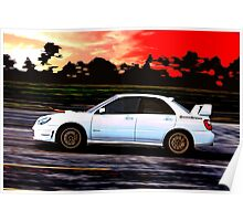 Subaru STi Racing at Sunset Poster