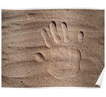 Handprint in sand Poster