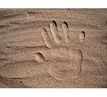 Handprint in sand Photographic Print