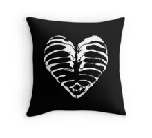 skeleton heart black Throw Pillow