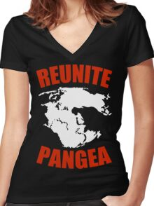 Reunite Pangea Funny Geek Nerd Women's Fitted V-Neck T-Shirt