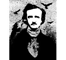 Poe with Ravens and Heart, transparent background Photographic Print