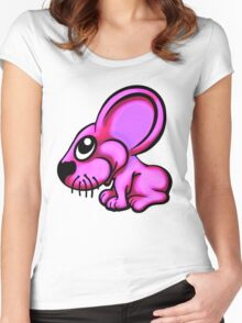 Pink Cartoon Mouse  Women's Fitted Scoop T-Shirt